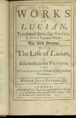 Image for THE WORKS OF LUCIAN, TRANSLATED FROM THE GREEK, BY SEVERAL EMINENT HANDS; The First Volume